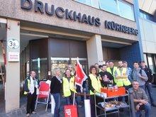 20.03.2014: Streikposten beim Druckerstreik vor den Nürnberger Nachrichten