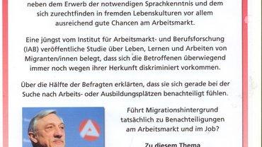 """Bild von Einladungsflyer zur Infoveranstaltung """"Benachteiligt am Arbeitsmarkt"""""""