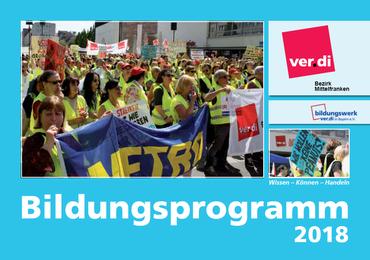 Deckblatt des Bildungsprogramms 2018 des ver.di Bezirkes Mittelfranken