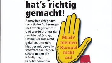 Bild gelbe Hand mit ver.di-Logo
