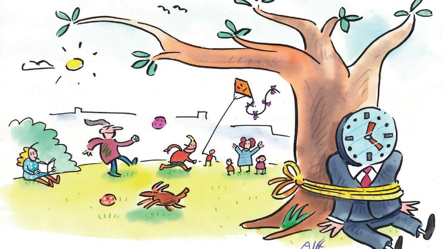 Cartoon eines an einen Baum gefesselten Menschen, der statt eines normalen Kopfes das Ziffernblatt einer Uhr hat.
