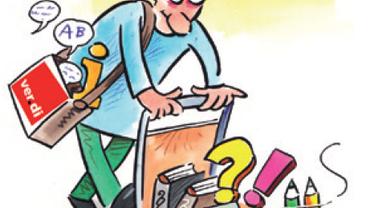 Zeichnung eines Mannes, der vor sich einen Einkaufswagen schiebt, in dem Bücher mit dem Paragraphenzeichen liegen.