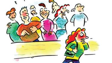 Zeichung auf der viele Menschen über eine einzelne Person lachen