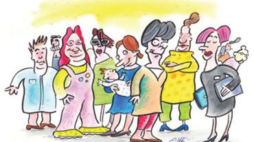 Eine Zeichnung, die eine Gruppe von Personen zeigt