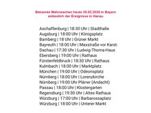 Übersicht der bayernweiten Mahnwachenam 19.02.2020  zu Hanau