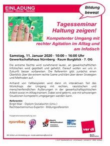 """Flyer zum Seminar """"Haltung zeigen"""""""