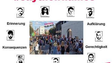 Bild von der Kundgebung/ Mahnwache am Nürnberger Kornmarkt am 19.08.2020