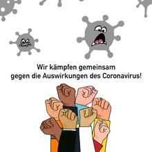 Infografik gemeinsam gegen die Auswirkungen des Corona- Virus kämpfen