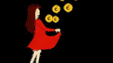 Zeichung eines Mädchens, das mit seinem Kleid Euromünzen auffängt
