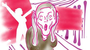 """Kombination aus dem Logo der Frauen Empowerment und der Figur aus """"Der Schrei"""" von E. Munch."""