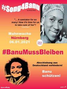 Aufruf zur Mahnwache am 6. Januar 2021: #BanuMussBleiben