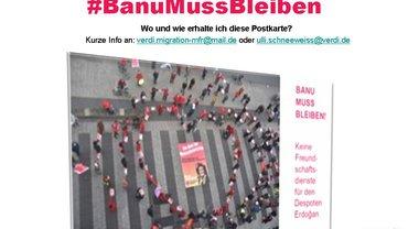 Postkarte der Solikampagne: #BanuMussBleiben